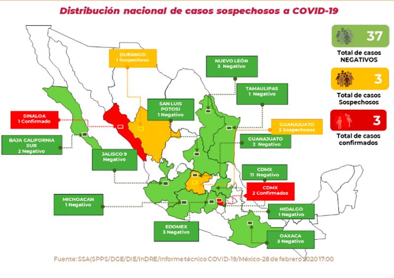 mapa 28 febrero coronavirus
